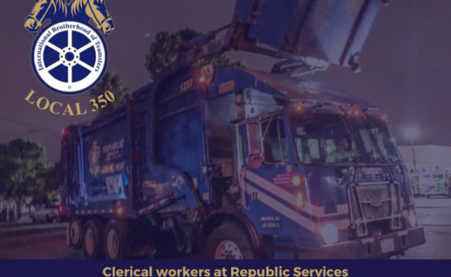 Clerical Workers at Republic Services Landfill Vote to Join Teamsters Local 350